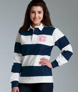 Monogrammed Navy Rugby Stripe Shirt www.tinytulip.com