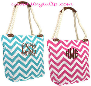 Monogrammed Canvas Chevron Tote with Rope Handles  www.tinytulip.com