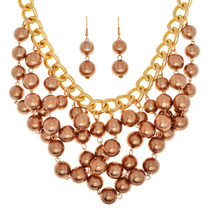 Copper Beaded Bib Chain Necklace and Earring Set  www.tinytulp.com