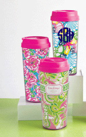 Lilly Pulitzer Monogrammed Thermal Mug www.tinytulip.com