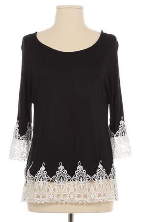 Crochet Lace Trim Black Shirt www.tinytulip.com
