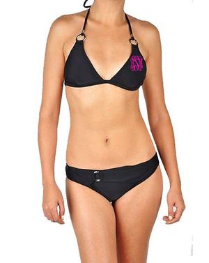 Double Monogrammed Black Ring Detail Bikini www.tinytulip.com