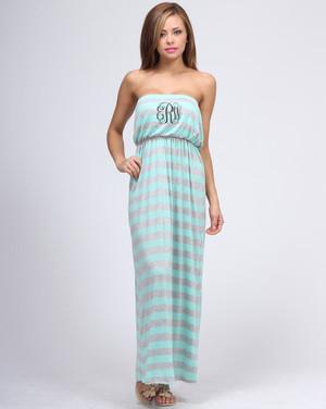 Monogrammed Strapless Stripe Tube Top Maxi Dress www.tinytulip.com