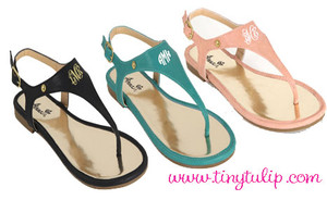 Monogrammed Thong Sandals www.tinytulip.com