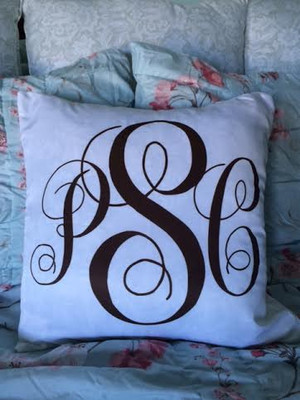 Monogrammed White Decorative Pillow