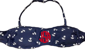 Monogrammed Navy and White Anchor Bandeau with Straps