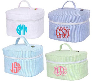 Monogrammed Seersucker Train Case www.tinytulip.com