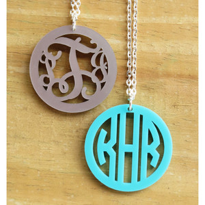 Bordered Monogram Pendant Necklace www.tinytulip.com