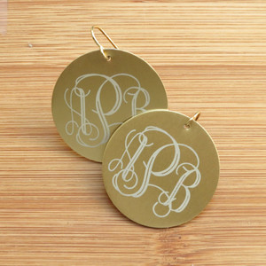 Metal Engraved Monogram Earrings www.tinytulip.com
