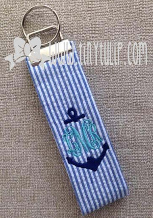 Monogrammed Seersucker Anchor Keychain www.tinytulip.com Navy Seersucker with Navy Anchor and Turquoise Interlocking Monogram