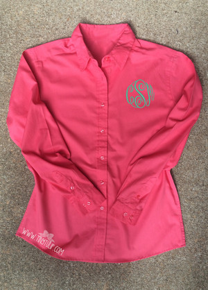 Monogrammed Ladies Coral Oxford Shirt