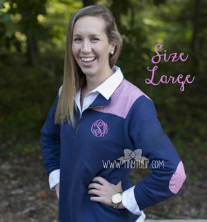 Monogrammed Navy Gingham Large Pullover   www.tinytulp.com Preppy Pink Master Script Font