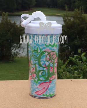 Lilly Pulitzer Fabric Tumbler www.tinytulip.com Lime Green Interlocking on Lobstah Roll