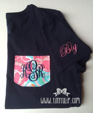 Lilly Pulitzer Pocket Big & Little TShirt www.tinytulip.com Navy Emma Font on Jellies Be Jammin