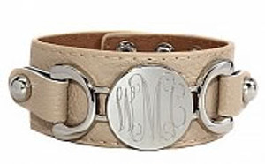 Monogrammed Engraved Silver Leather Cuff Bracelets   www.tinytulip.com
