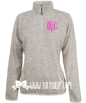 Monogrammed Oatmeal Heathered Fleece Pullover www.tinytulip.com