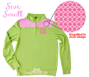 Monogrammed Green Pink Scales Pullover Small www.tinytulip.com