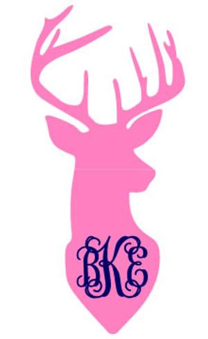 Monogrammed Deer Vinyl Sticker  www.tinytulip.com Pink Deer with Navy Interlocking Monogram