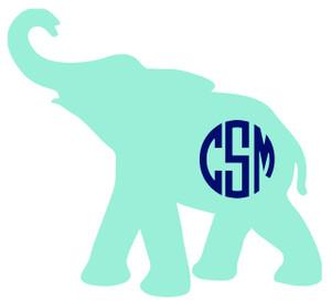 Monogrammed Elephant Vinyl Sticker www.tinytulip.com Mint Elephant with Navy Circle Font