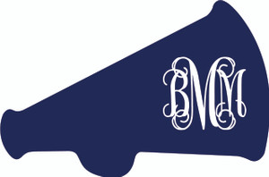 Monogrammed Megaphone Vinyl Sticker www.tinytulip.com Navy Megaphone with White Font