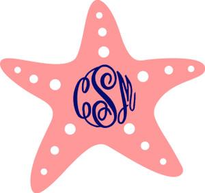 Monogrammed Starfish Vinyl Sticker www.tinytulip.com Coral Starfish with Navy Master Script Font