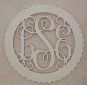 Bordered Wooden Interlocking Monogram Wall Decor www.tinytulip.com Scalloped Circle Border