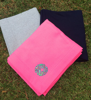 Monogrammed Lilly Pulitzer Stadium Sweatshirt Blanket www.tinytulip.com Checking In Blue Fabric with Turquoise Thread