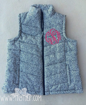 Monogrammed Quilted Herringbone Vest Plus Size  www.tinytulip.com Hot Pink Master Script Font
