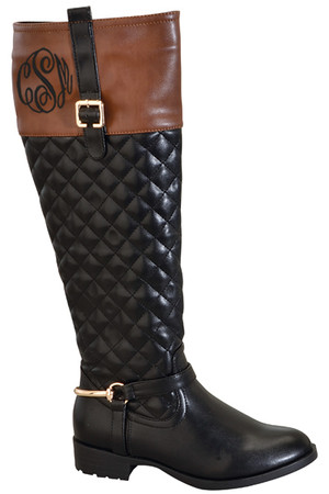 Monogrammed Robin Quilted Two Tone Riding Boots  www.tinytuliip.com Black Master Script Font Side Back Monogram