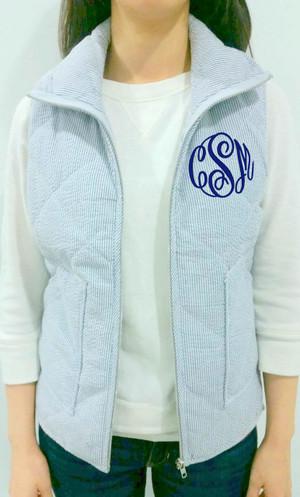 Monogrammed Quilted Blue Seersucker Vest  www.tinytulip.com Navy Master Script Font