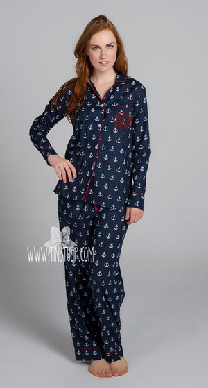 Anchors Monogrammed Long Pajama Set  www.tinytulip.com Red Master Script