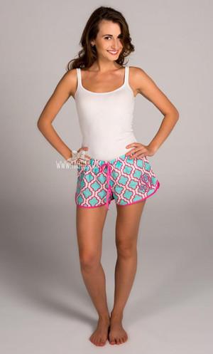 Womens Monogrammed Quatrefoil Boxer Shorts www.tinytulip.com Hot Pink Master Script
