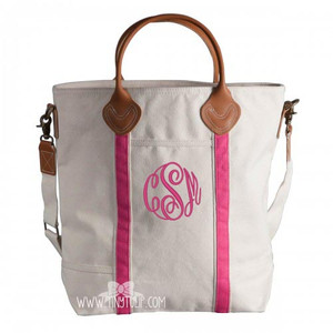 Monogrammed Canvas Pink Flight Bags