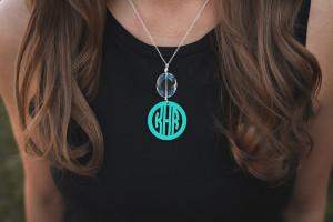 Drop Pendant Acrylic Mary Beth Goodwin Monogram Necklace www.tinytulip.com
