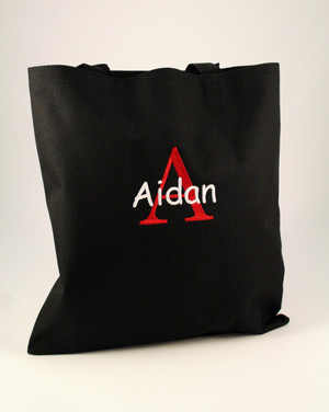 Black Bag with Red Initial Romana Font