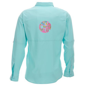 Lilly Pulitzer Monogrammed PFG Fishing Shirt www.tinytulip.com Chin Chin with Preppy Pink Font