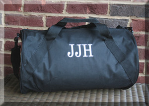 Black Duffle with White Romana Font