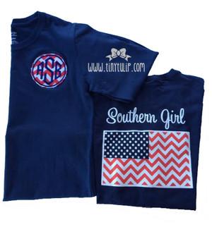 Monogrammed Raggy Applique Southern Girl Chevron Flag Tshirt www.tinytulip.com Navy Long Sleeve Southern Girl Shirt with Red Chevron Applique and Navy Diamond Font