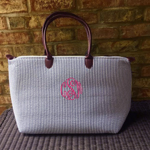 Monogrammed Seersucker Travel Tote www.tinytulip.com Navy Tote with Preppy Pink Master Script Font