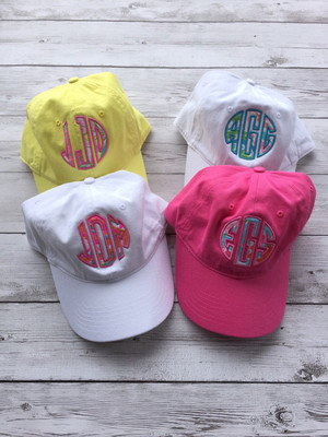 Monogrammed Lilly Pulitzer Applique Baseball Hat www.tinytulip.com
