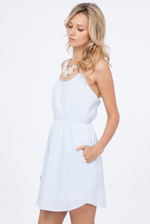 Blue Seersucker Ruffle Dress  www.tinytulip.com
