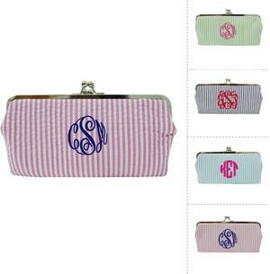 Monogrammed Seersucker Wallet www.tinytulip.com Pink  Wallet with Navy Master Script