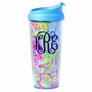 Lilly Pulitzer Lovers Coral Monogrammed Thermal Coffee Mug www.tinytulip.com Navy Interlocking Monogram