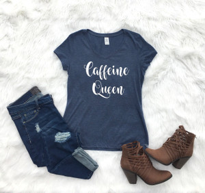 Ladies V-neck Navy Graphic Tee Caffeine Queen www.tinytulip.com