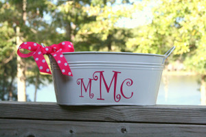 White Bin with Hot Pink Curly Monogram