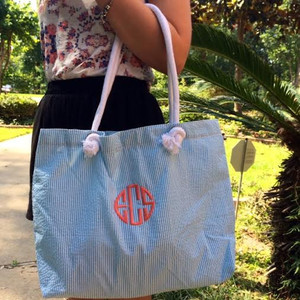 Seersucker Everything Tote Monogrammed