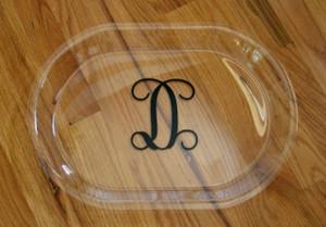 Acrylic Oval Serving Tray Black Interlocking Font