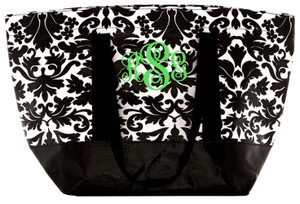 Damask Reusable Eco Friendly Medium Tote Monogrammed