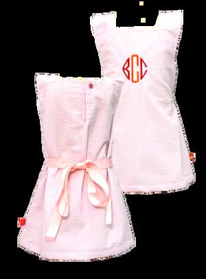 Pink Seersucker A-line Dress Monogrammed - www.tinytulip.com