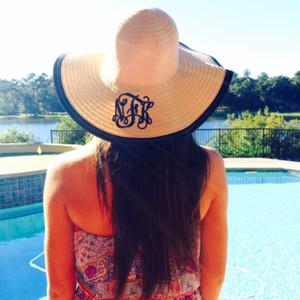 Floppy Color Rim Straw Hat ~ Sun Hat Monogrammed